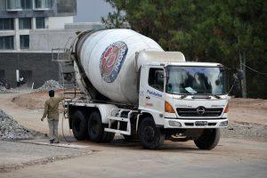 White Concrete Paving Truck
