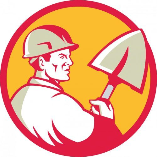 A Man with a Hard hat and shovel